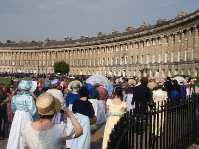 Promenading along the Royal Crescent